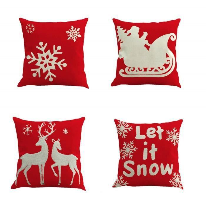 Style 3 4PCS Taie d'oreiller No&eumll s&eacuterie Bonhomme de neige,Coton Doux en Lin Couvre-Lit Taie d'oreiller Canap