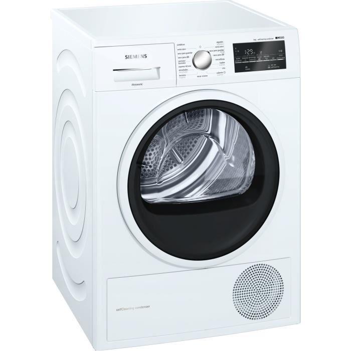 Siemens WT47G439EE, Autonome, Charge avant, Condensation, Blanc, boutons, Rotatif, Droite