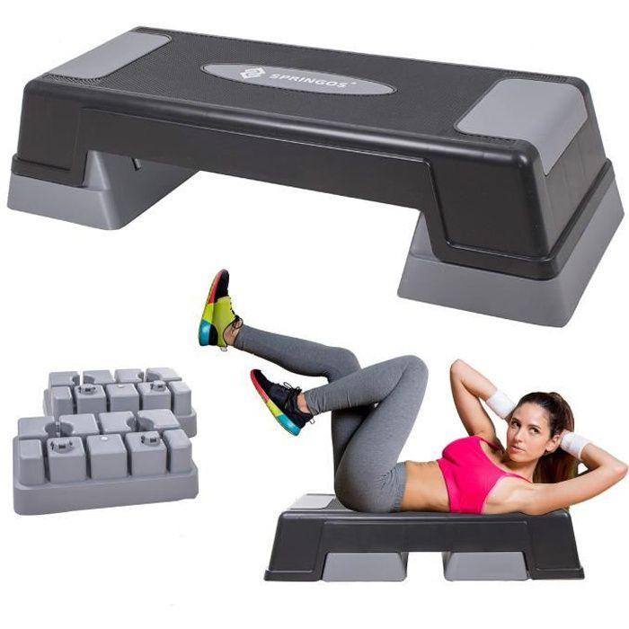 SPRINGOS® Aérobic Stepper, Réglable Stepper d'exercice, 3 niveaux de hauteur, antidérapant - Gris