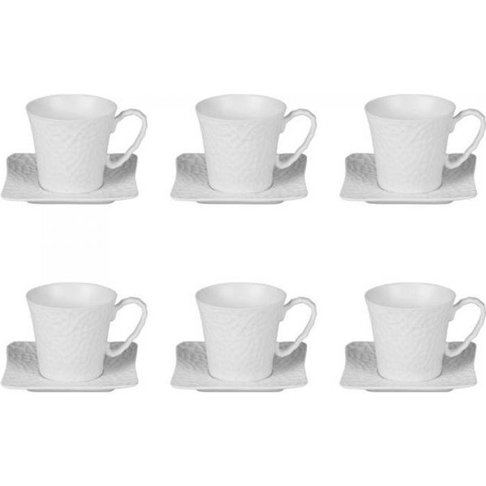 Coffret de 6 Tasses à Café - Sous-tasses 10 cl Cratère NEURE Blanc