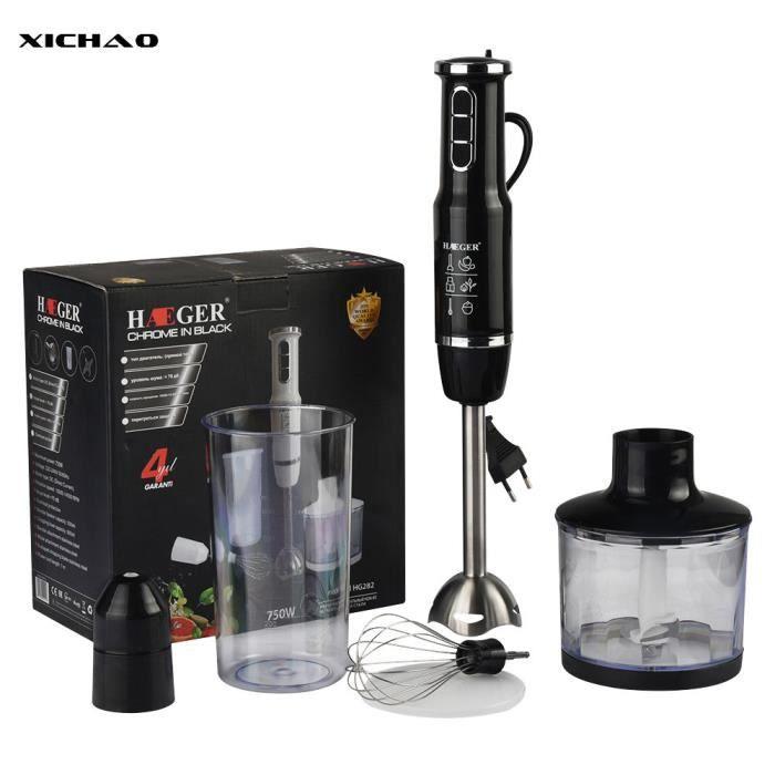XICHAO - Mixeur Plongeant 4 en 1 avec Fouet, Hachoir Électrique 500ml, Sans BPA Gobelet 600ML, 750 Watts Puissant / Noir ]