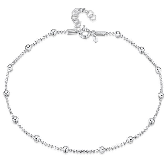 Facilement Ajustable Plaqu/é Or Ros/é 14K Amberta Bijoux Bracelet de Cheville aux Maille Classique Cha/îne Argent 925//1000 R/églable 22 /à 25,5 cm