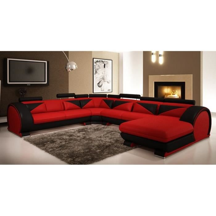canap d 39 angle panoramique cuir rouge et noir miam achat. Black Bedroom Furniture Sets. Home Design Ideas