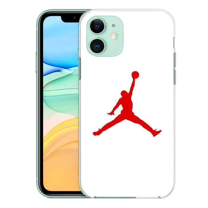 Coque pour iPhone 11 Jordan Basketball Logo Blanc
