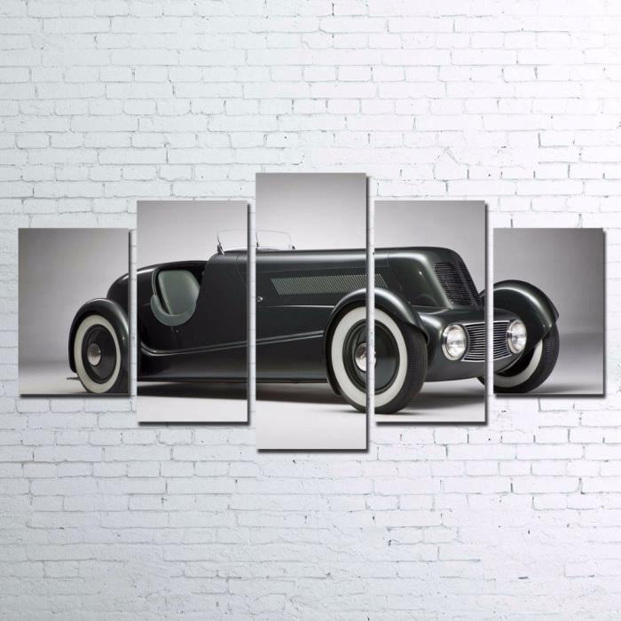TABLEAU - TOILE Toiles peintures imprimées 5 pièces rétro noir de