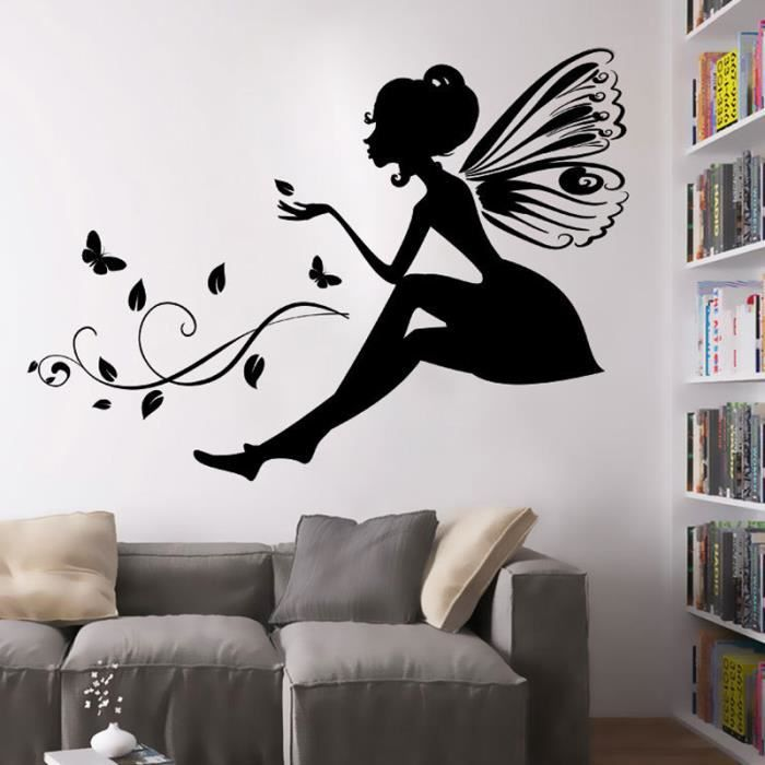 noir f es des fleurs stickers muraux pour chambre. Black Bedroom Furniture Sets. Home Design Ideas