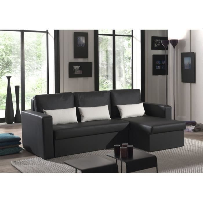 canap angle romeo imitation cuir noir achat vente canap sofa divan cdiscount. Black Bedroom Furniture Sets. Home Design Ideas