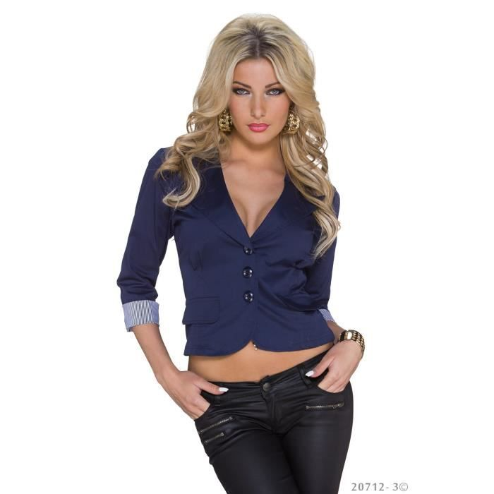veste blazer courte bleu marine sexy femme bleu achat vente veste 2009949432994 cdiscount. Black Bedroom Furniture Sets. Home Design Ideas