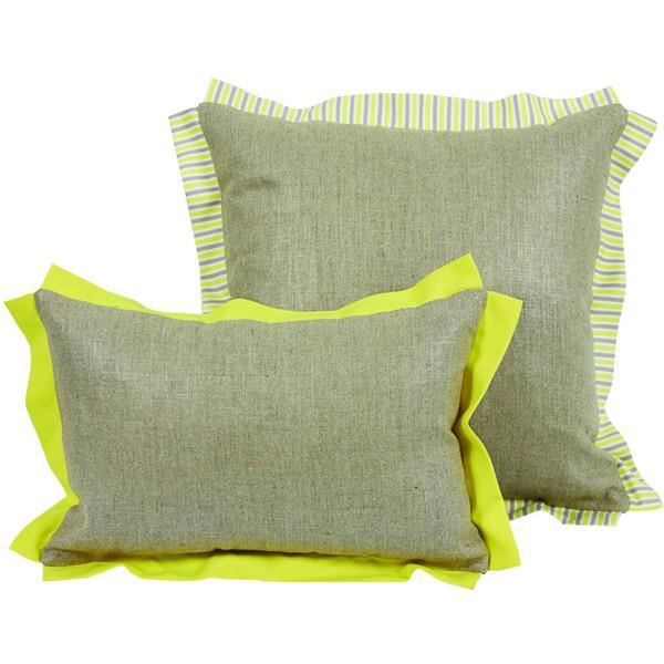 coussin bicolore gris et jaune gamme zest 45 x achat. Black Bedroom Furniture Sets. Home Design Ideas