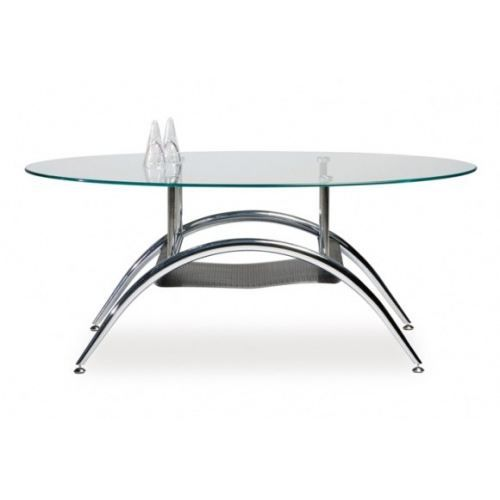 Table basse ovale chrome achat vente table basse table - Table basse verre ovale ...