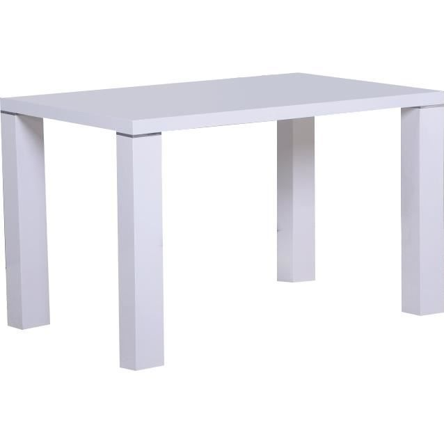 table manger 120 cm blanc laqu d cor d 39 acier achat vente table a manger complet table. Black Bedroom Furniture Sets. Home Design Ideas