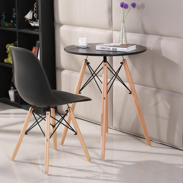 Table Salle à Manger Ronde style scandinave-nature Table de Salon Pieds en  Bois + Noir laqué