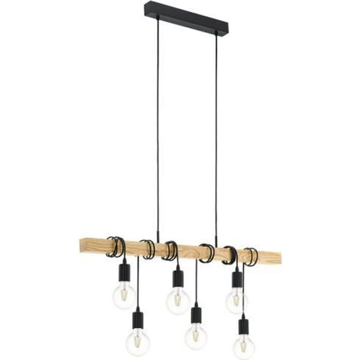 townshend suspension 6 lumi res bois noir l100cm achat vente suspension barre 6 lumi res. Black Bedroom Furniture Sets. Home Design Ideas