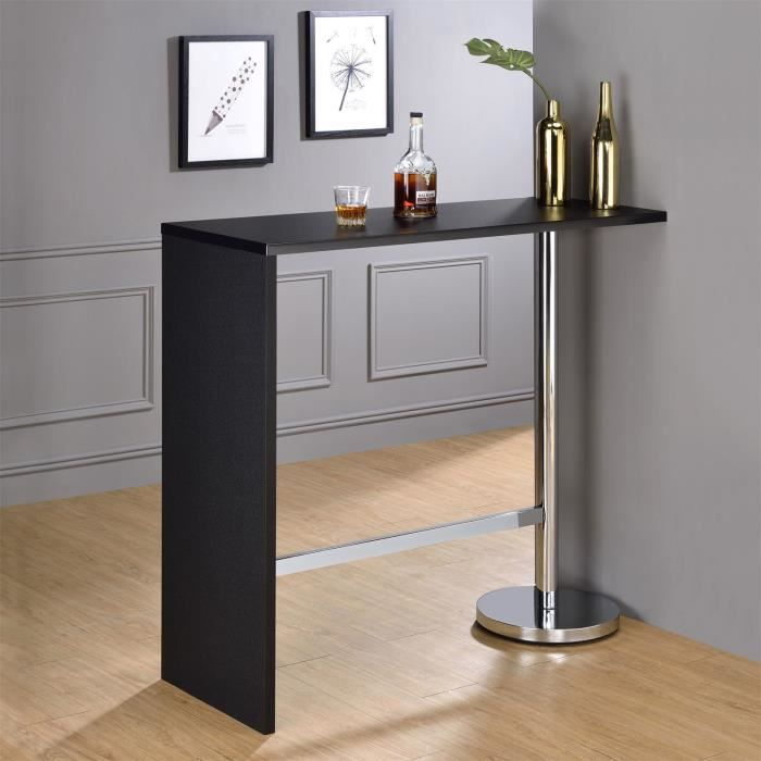 table haute de bar ricardo mange debout comptoir pi tement m tal chrom bois mdf noir mat. Black Bedroom Furniture Sets. Home Design Ideas