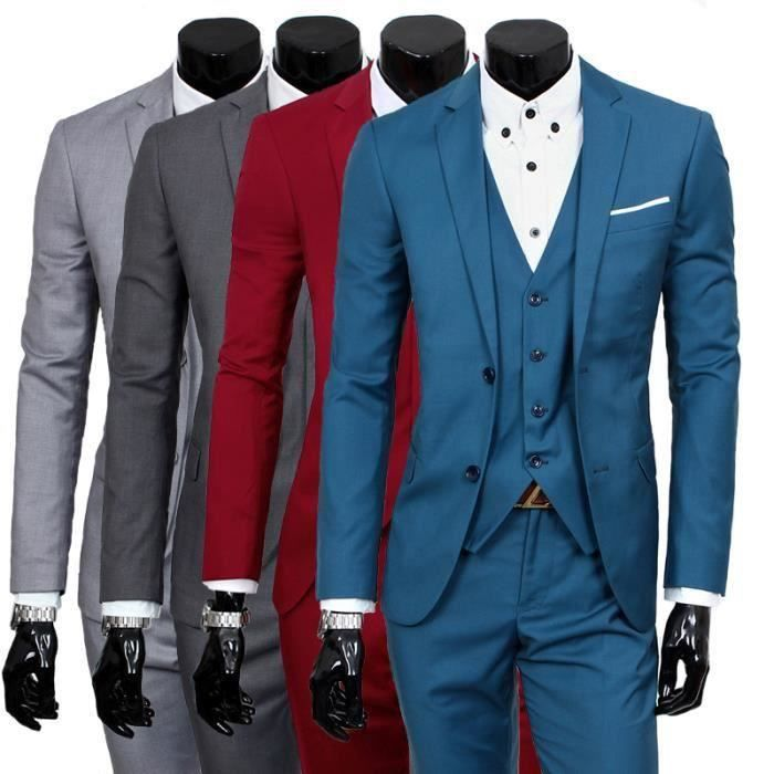 costume homme 3 pieces mariage tenue de soir e f te blazer veste homme bleu achat vente. Black Bedroom Furniture Sets. Home Design Ideas