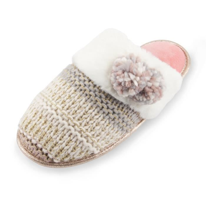 Slipper Confort Memory Slip mousse Dyeing Knit peluche Pompon Embellissement hiver Slipper BE7L7 Taille-M IyzCdA