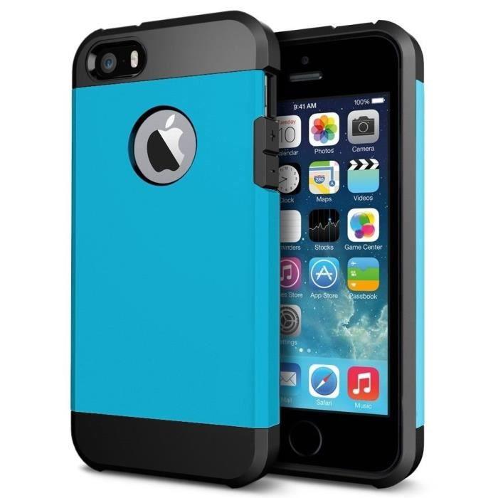 coque etui antichoc armor pour iphone 5c bleu cous