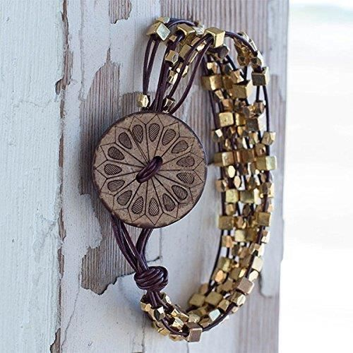Womens Boho Brown Leather Bracelet For Size 8 With Square Brass Beads And Coconut Button With Mand XU420