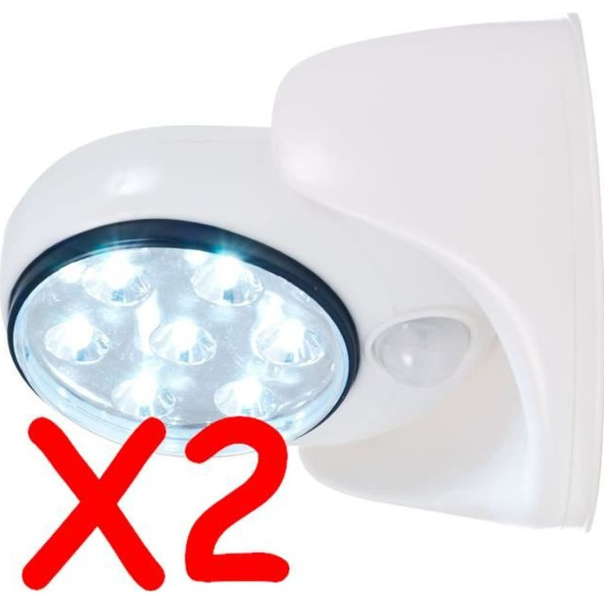 PLAFONNIER D'EXTÉRIEUR LOT 2 SPOT LAMPE DETECTEUR DE MOUVEMENT 7 LED EXTE