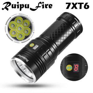 LAMPE DE POCHE RuipuFire 7 x XM-L T6 LED de puissance numérique d