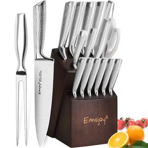 COUTEAU DE CUISINE  Bloc Couteaux de Cuisine 16pcs Couteaux Profession