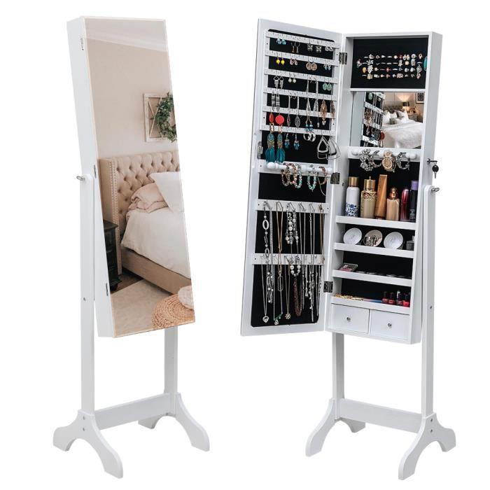 Armoire à bijoux armoire de rangement sur pied avec miroir 59.8 - Blanc