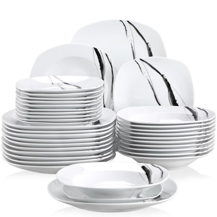 Veweet TERESA 36pcs Assiettes Service de Table Pocelaine Assiettes Plates Assiette Creuse Assiette à Dessert Vaisselles
