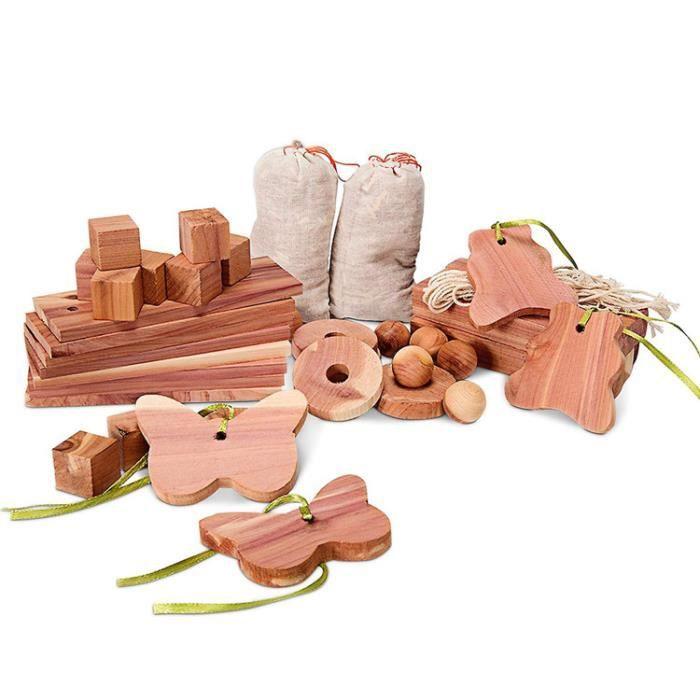 blocs de bois de cèdre – Anneaux et sachet 40 pièces anti-mite – Stop, anti-mites bois de cèdre naturel sans produit chimique.
