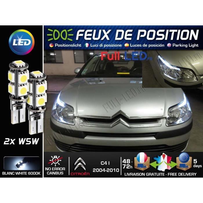 Ampoules W5W Feux de position LED - Citroën C4 I - Blanc Xénon