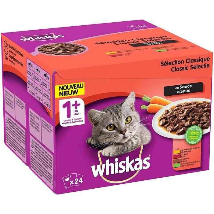 Nourriture pour chats Whiskas Sélection Classique en Sauce – Nourriture humide pour chat adulte – Alimentation complète 38616