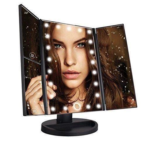 Miroir LED Maquillage Miroir Lumineux à Grossissement X1 - X2 - X3 Triple Pliant de Table Écran Tactile 21 LEDs 180 Degrés de L664
