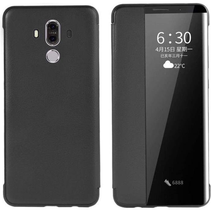 Coque Huawei Mate 9 Étui en Cuir PU Fonction Sommeil Intelligent/Réveillez Automatiquement Étui Huawei Mate 9 (Noir)NS