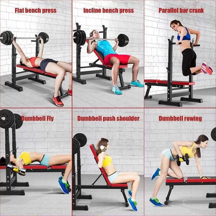 Banc de Musculation- Abdominaux Banc avec Support de Barres Multifonction Réglable Pliable-Banc d'entraînement- Pieds antidérap[296]