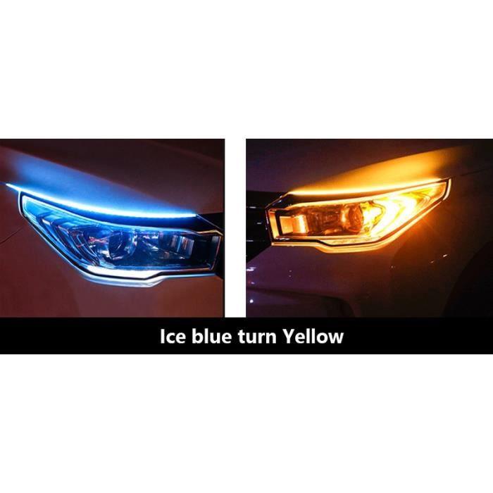 Ice blue turn yellow 45cm -Bande de lumière Led DRL Flexible et Flexible, Tube de guidage pour voiture, clignotant blanc, jaune, éta