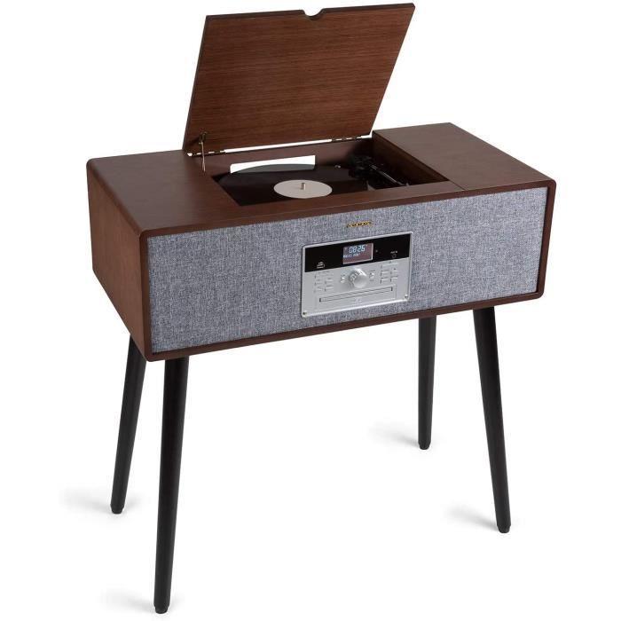 AUNA Julie Ann - chaîne stéréo, Platine Vinyle, 3 Vitesses: 33, 45 et 78 TR/Min, Lecteur CD, Radio Dab + / FM, Connexion Bluetooth,