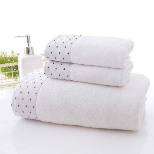Serviettes et serviettes de bain 3 pièces de combinaison de coffret cadeau de ménage couleur unie pur coton dot blanc