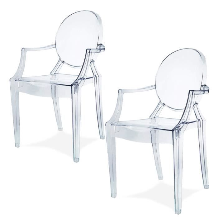 Damiware Lot de 2 Plexiglas Acrylique Ghost Chair Accoudoir Chaise Spirit Transparant. Illustration en Transparent (Blanc)