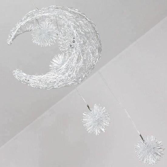 Lustre Suspension Décorative Lune Etoile Lustre Aluminium Lampe Pour Enfant Chambre Café Salon Cabinet Travail Boutique +Cadeau Po