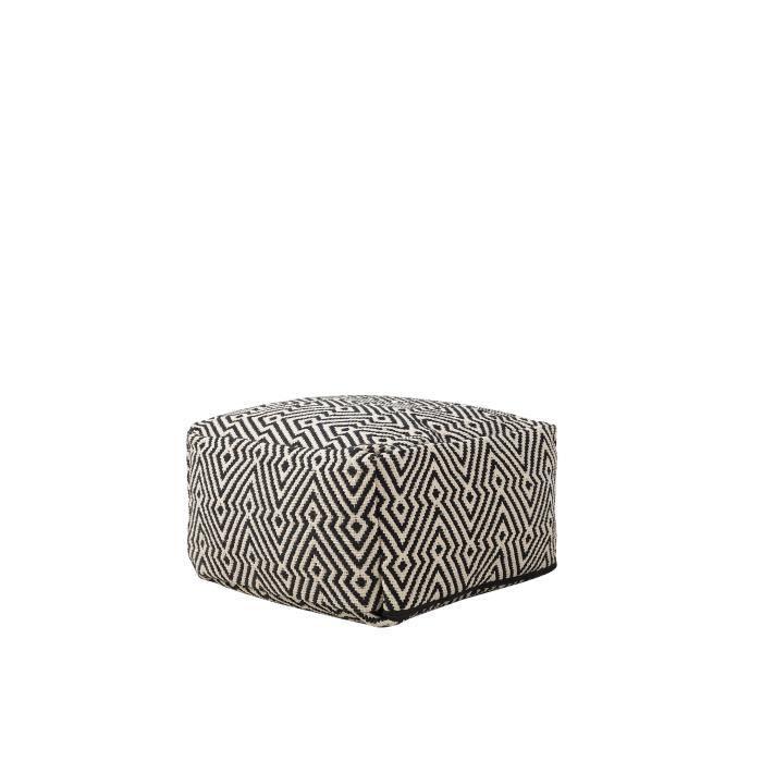 Beliani - Pouf noir et blanc 50 x 30 cm MUKKI