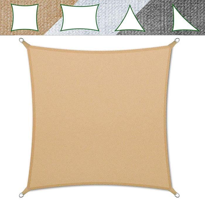 Voile Ombrage 5x5 m - Sable - Carré Anti-UV - Lavable en Machine - Densité 180g - m² - Toile Tendue