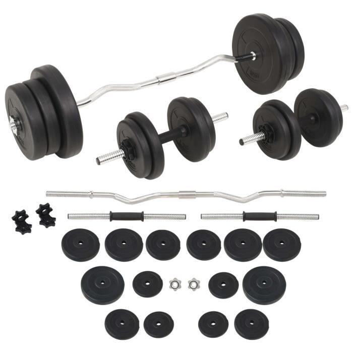 DEX® Ensemble d'haltères et barres d'haltères 60 kg noir
