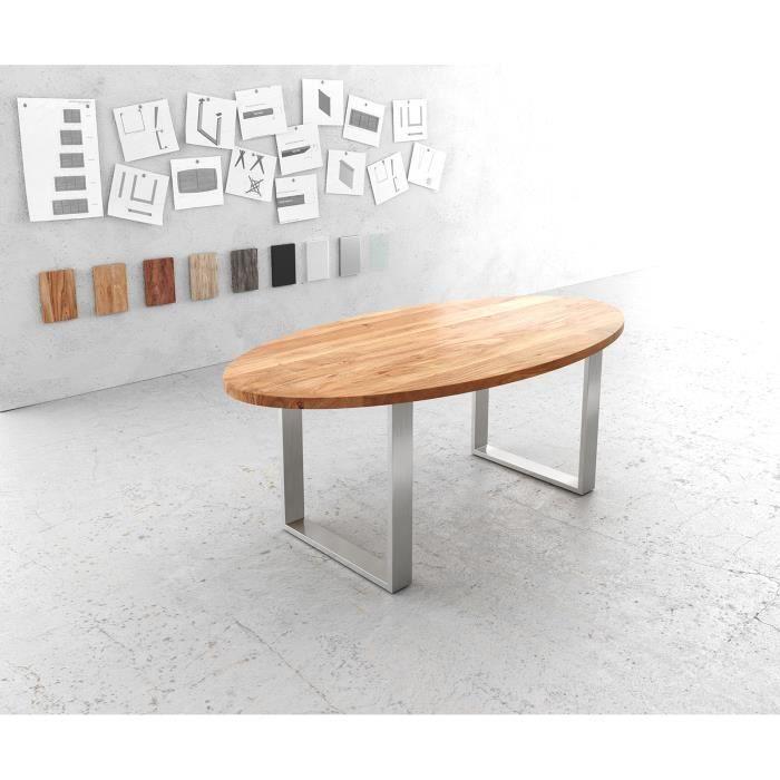 Table-de-salle-à-manger Edge acacia nature ovale 200x100 acier inoxydable étroit