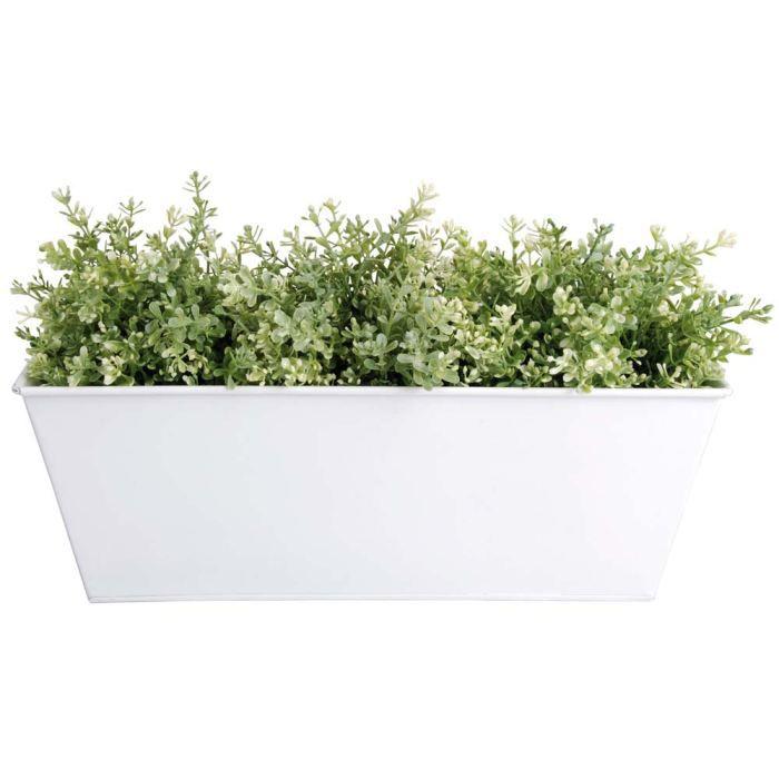 Jardinière en zinc blanc 40x15x15cm