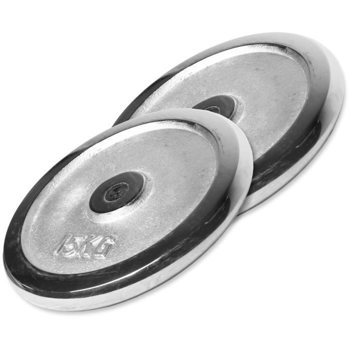Gorilla Sports - Lot des poids chromées de 30kg (2x15kg) de diamètre 31mm