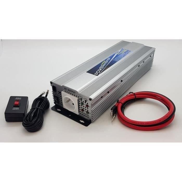 Convertisseur 12/24V Automatique 230V 1200W avec télécommande et Prise USB 2.1A