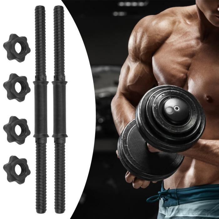 (2 pièce) Barres d'haltères à domicile de gymnastique poignées de levage de poids noir - QIN
