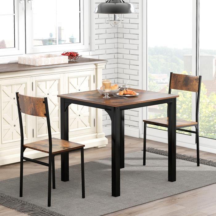 Ensemble de table 3 pièces salle à manger en bois avec 1 table et 2 chaises pour balcon & salon, vintage marron