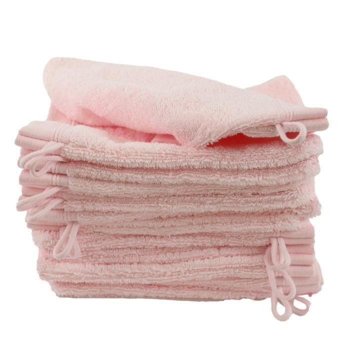 LINANDELLE - Lot de 12 gants de toilette coton bouclette unis FLEUR - Rose pâle