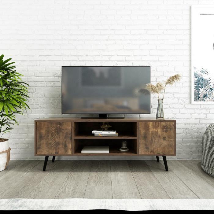 Meuble TV en bois avec pieds en métal avec étagères et trous de câble pour salon (2 portes)-Meerveil