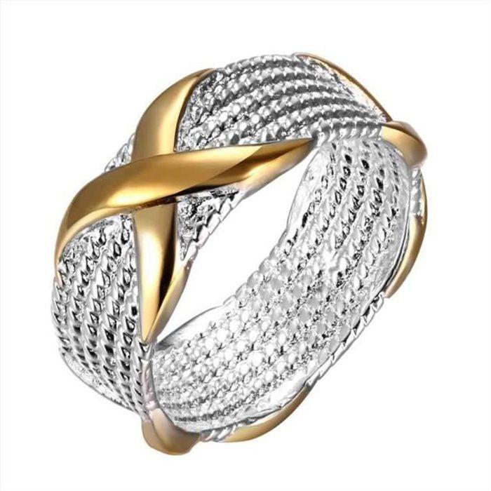 Bague anneaux multiples Doré or jaune 750/00 18K carats Bijou fantaisie haut de gamme bicolore Femme Jaune Croix 60 wz-A0146